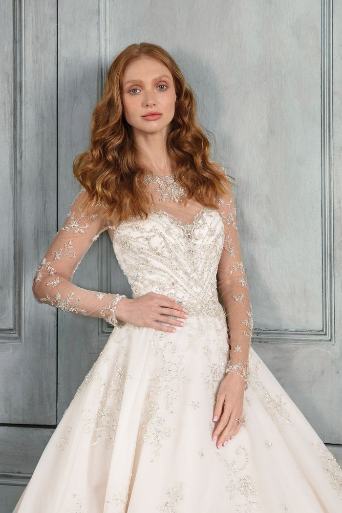 Justin Alexander Signature Style 99015 Embroidered Tulle Ball Gown with Illusion Neckline