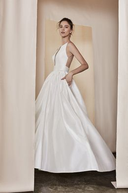Justin Alexander Signature style 99091 Silk Dupion Gown with Illusion Back