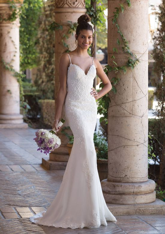 Sincerity Bridal Style 4002 V-Neck Fit and Flare Gown with Spaghetti Straps