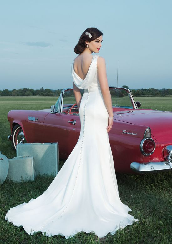 Justin Alexander Style 8727 Luxe Charmeuse Gown with Cowl Back