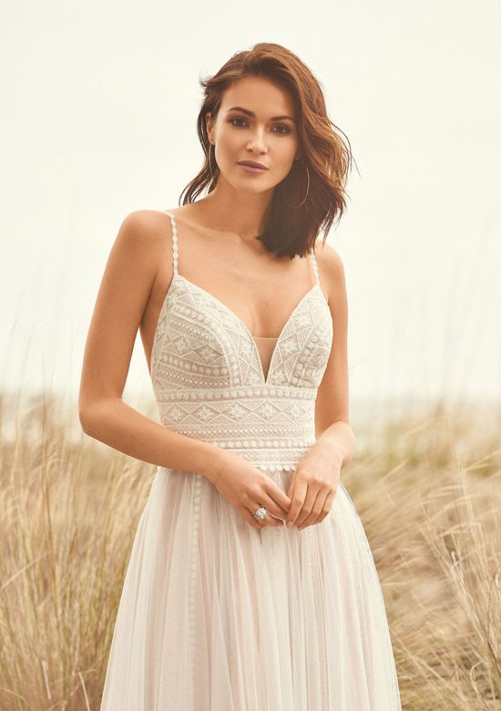 Lillian West Style 66108 English Net A-Line Dress with Lace Straps