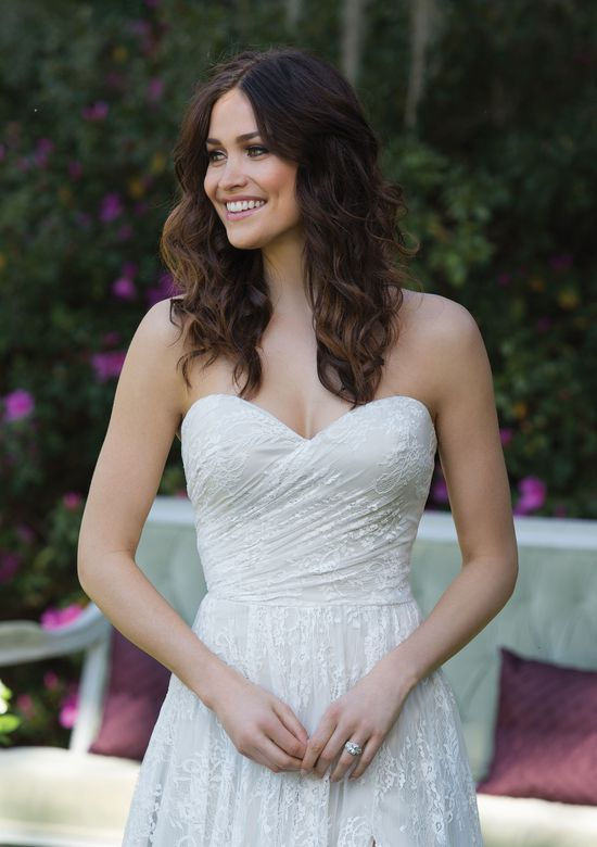 Sincerity Bridal Chantilly Lace A-line Gown with Sweetheart Neckline and Side Slit