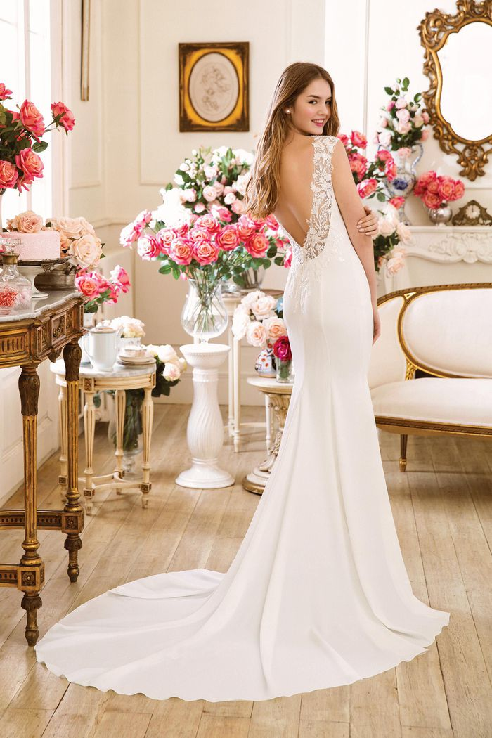 Sweetheart Gowns Style 11057 Crepe Fit and Flare Gown with Beaded Appliqued Back Neckline
