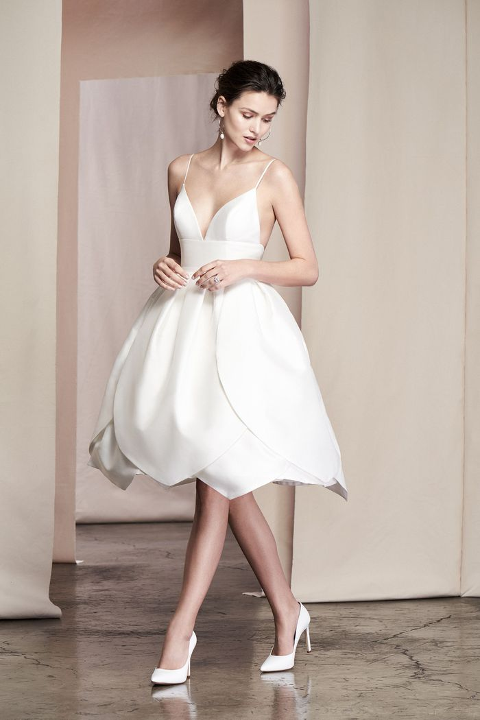 Justin Alexander Signature Style 99092 Camellia Petal Skirt Silk Mikado Cocktail Dress