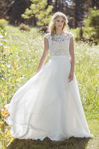 Lillian West Style 6493 A-Line Gown with Sabrina Neckline and Airy Chiffon Skirt