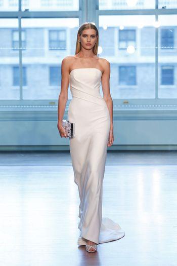 Justin Alexander Signature Style 99038 Asymmetrical Pleated Column Dress