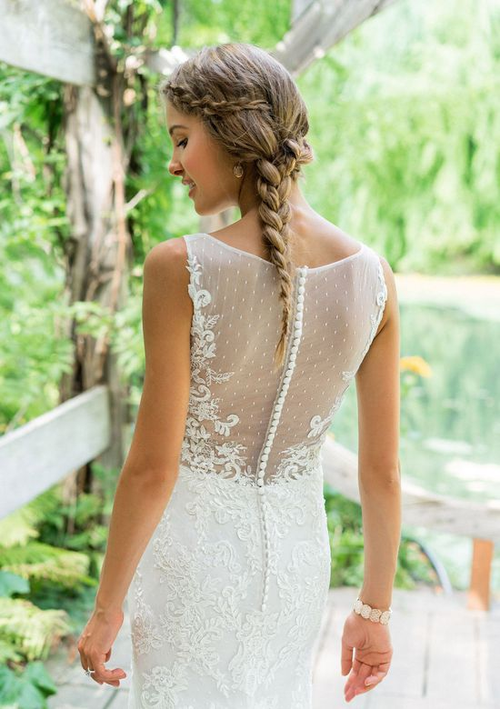 Lillian West Style 66004 Sleeveless Fit and Flare with Point D'esprit Lace