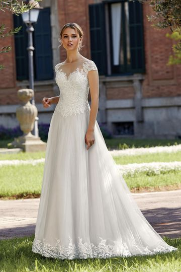 Sincerity Bridal Style 44144 A-Line Dress with Illusion Sabrina Neckline and Beaded Appliques