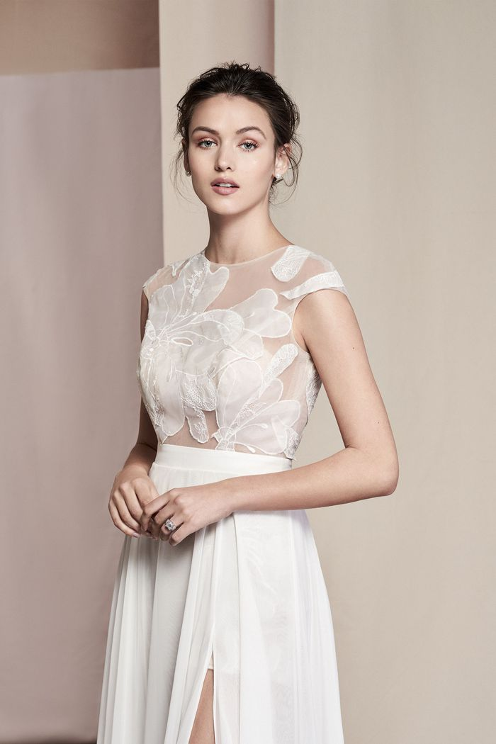Justin Alexander Signature Style 99098 Linnea Floral Patchwork Chiffon Romper with Attached Overskirt