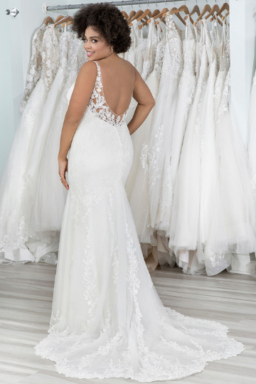 Sincerity Bridal Style 44228 Low Back Fit and Flare Dress with Shaped Train
