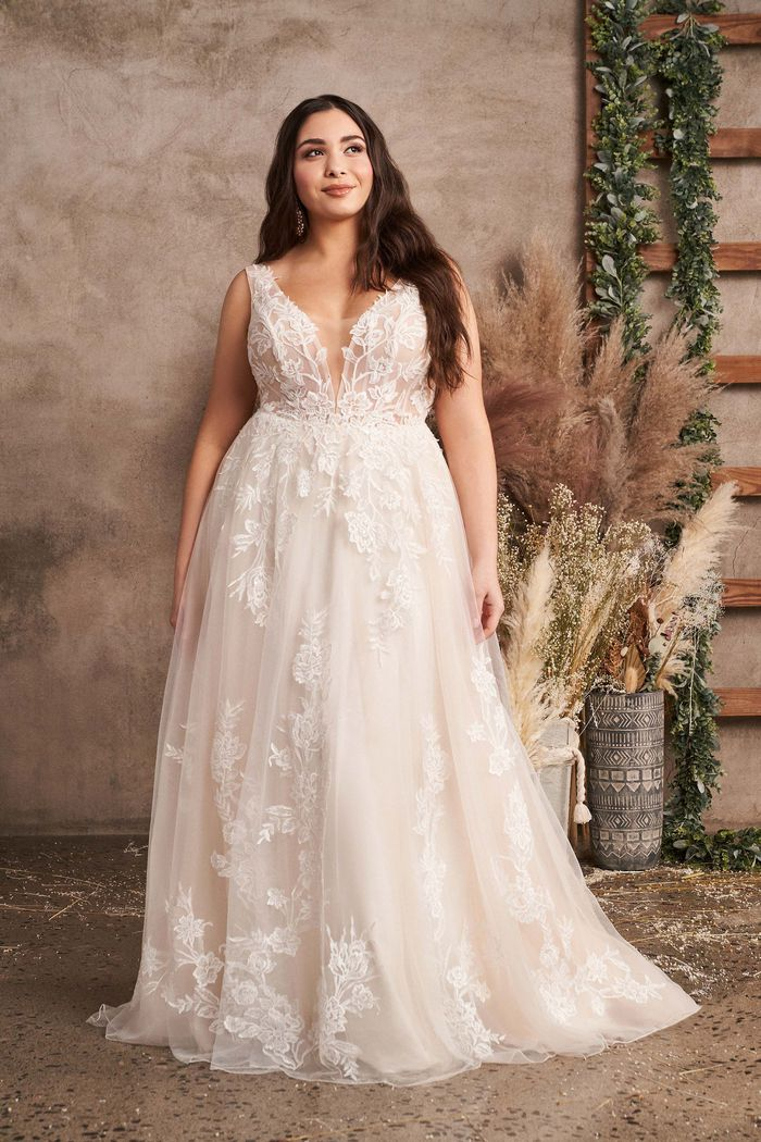 Lillian West Style 66063PS Plunging V-Neck Plus Size A-Line Gown with Sequined Lace Appliqués