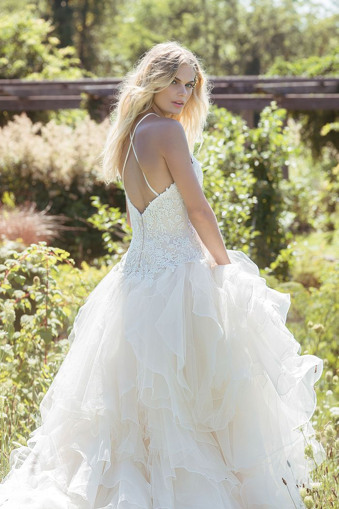 Lillian West Style 6502 Venice Lace Dress with Jewel Halter Neckline and Tulle Ruffled Skirt