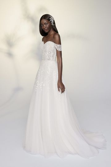 Justin Alexander Signature Style 99199 Vera Beaded A-Line Gown with Detachable Off the Shoulder Straps
