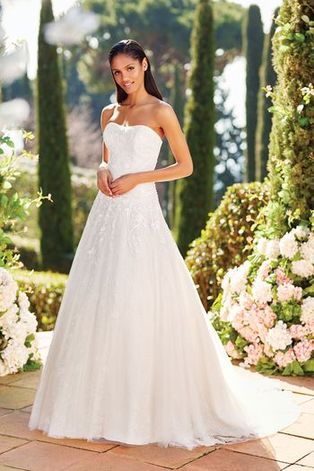 Sincerity Bridal Style 44164 Flower Beading Dropped Waistline Ball Gown