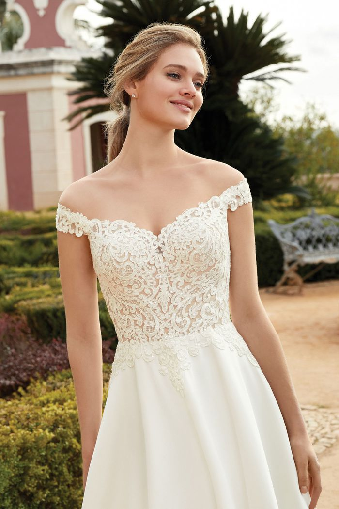 Sincerity Bridal Style 44239 A-Line Gown with Off the Shoulder Neckline and Illusion Train