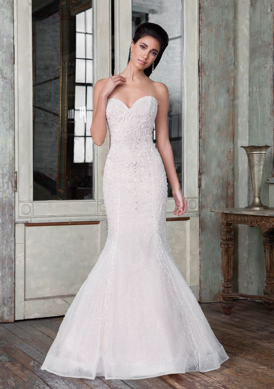 Justin Alexander Signature Style 9820 Hand Beaded Tulle Fit and Flare Bridal Gown