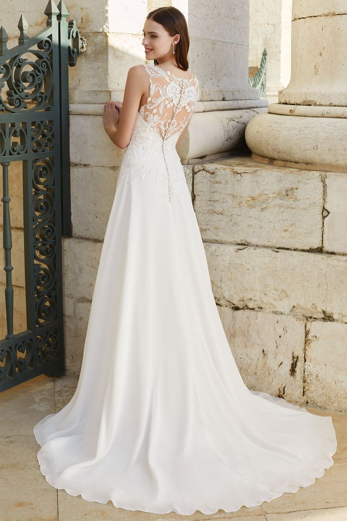 Adore by Justin Alexander Style 11156 Illusion Back A-Line Gown with Chiffon Skirt