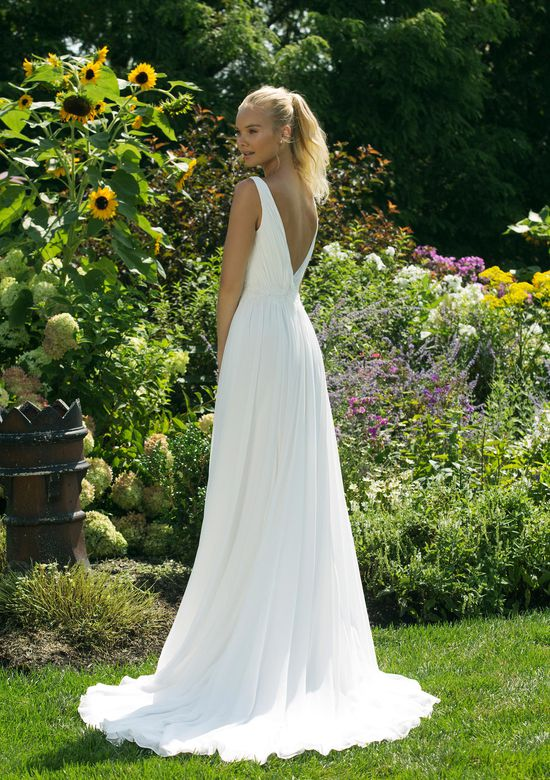 Sweetheart Gowns Style 11014 Chiffon A-line Gown with Plunging V-neckline