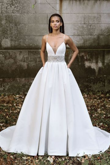 Justin Alexander Signature Style 9878 Pleated Ball Gown with Beaded Waistband