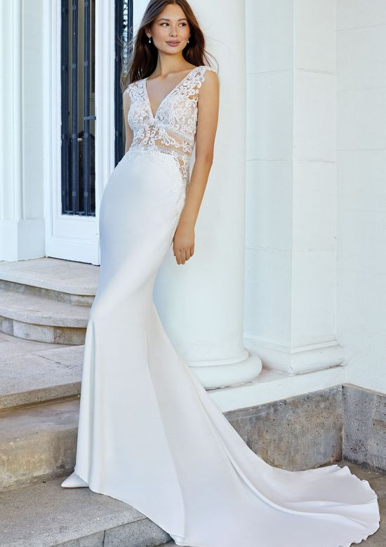 Adore by Justin Alexander Style 11105 Crepe Fit and Flare Gown with Waist Cutouts and Beaded Lace