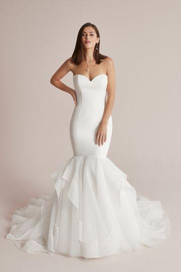 Justin Alexander Style 88203 Cooper Satin Mermaid Wedding Dress with Organza Ruffle Skirt