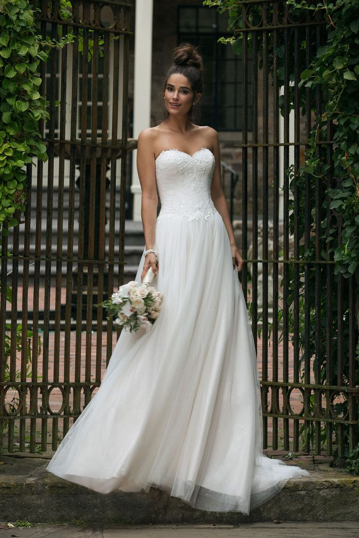 Sincerity Bridal Style 44065 Dropped Waist A-Line Gown with Tulle Skirt