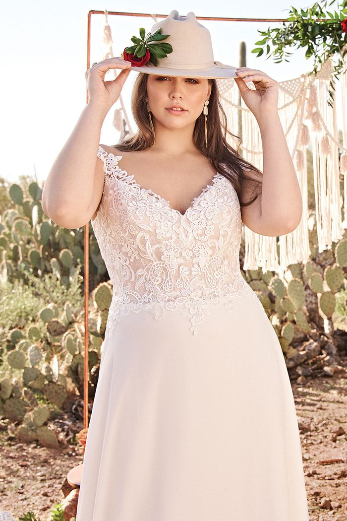 Lillian West Style 66097PSLND Lace illusion bodice A-line Plus Size Bridal Dress