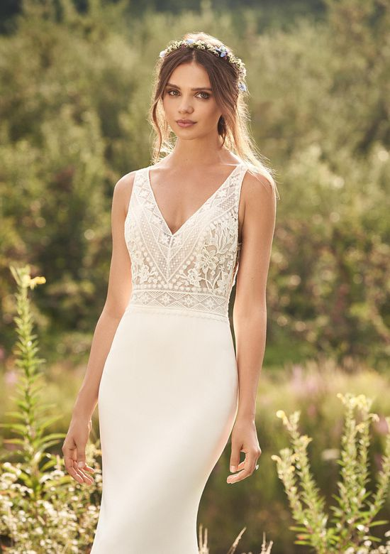Lillian West Style 66123 Fit and Flare Crepe Gown with Illusion Train and Aztec Lace Trim