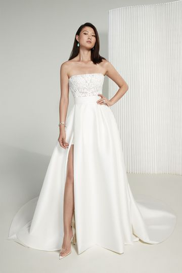 Justin Alexander Signature Style 99214 Marie Straight Neckline Wedding Gown with Stretch Mikado Skirt and Slit