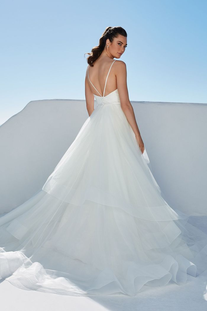 Justin Alexander Style 88169 Bowie Plunging Bikini Neckline Ball Gown with Tiered Tulle Skirt