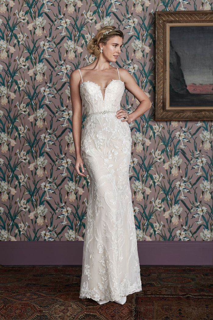 Justin Alexander Signature Style 99156 DINAH Beaded Fit and Flare with Plunging Bikini Neckline