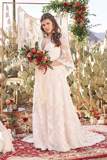 Lillian West Style 66064PS Bell Sleeve Lace Plus Size Bridal Dress with Criss-Cross Back Detail