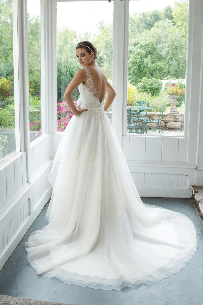 Sweetheart Gowns Style 11071 A-line Illusion Sabrina Sequined Neckline with Venice Lace Gown