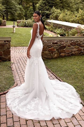 Sincerity Bridal Style 44278 Lace Trumpet Gown with V-Neckline and Back Illusion Detail
