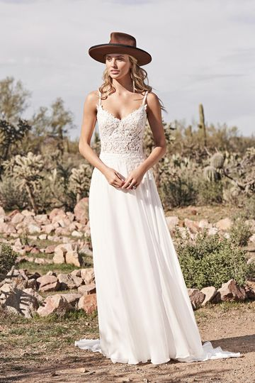 Lillian West Style 66158 A-Line Gown with Lace Bodice and Chiffon Skirt