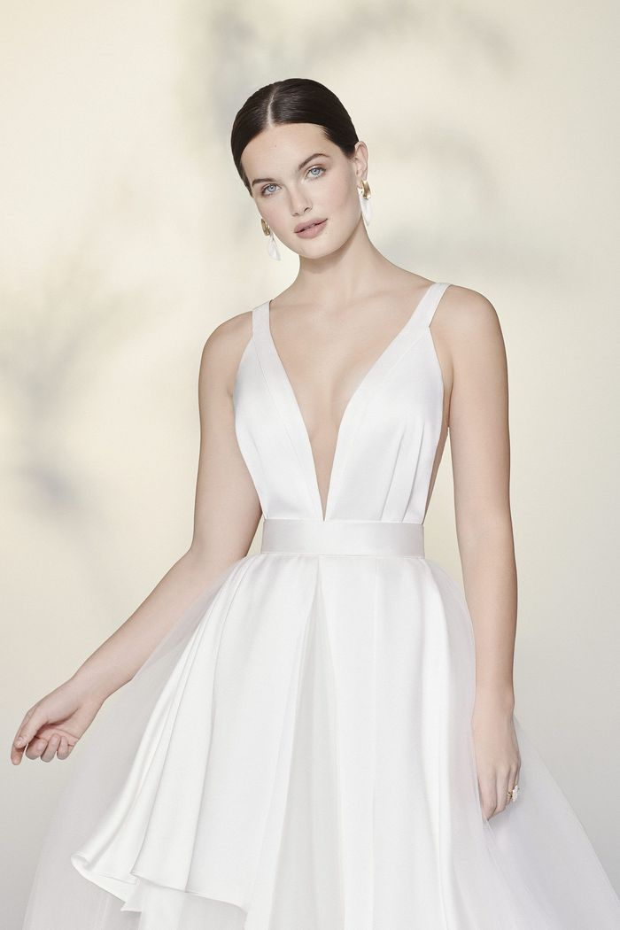 Justin Alexander Signature Style 99191 Tiler Plunging V-Neck Ball Gown with Charmeuse and Tulle Apron Skirt