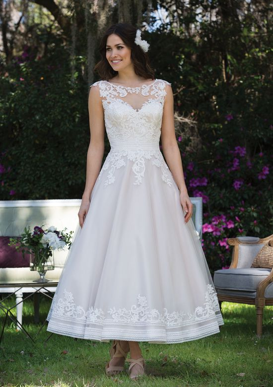 Sincerity Bridal Style 3935 Tea Length Tulle and Satin Ball Gown with Lace Appliqués
