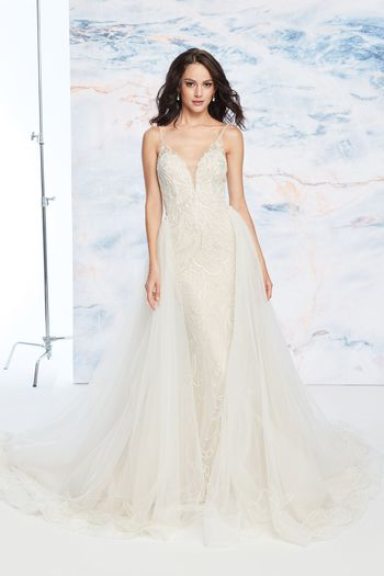 Justin Alexander Signature Style 99063DT Delicately Beaded Detachable Train