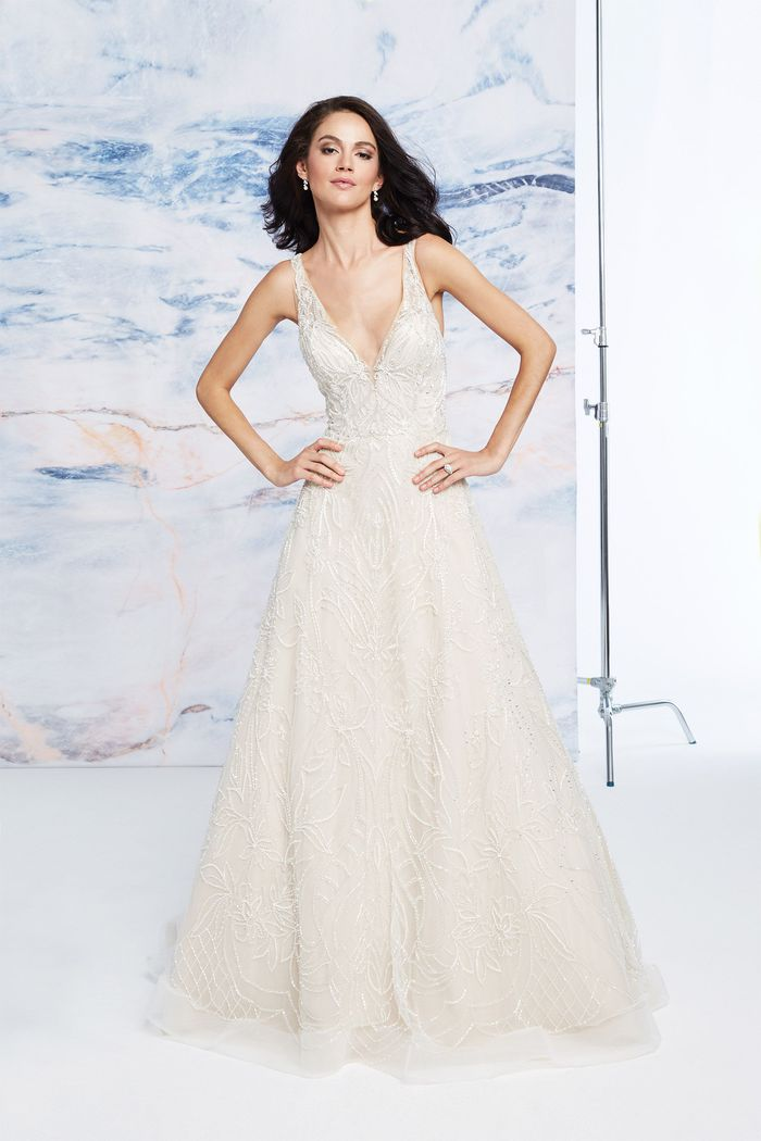 Justin Alexander Signature Style 99079 Floral Beaded Tulle V-Neck Ball Gown