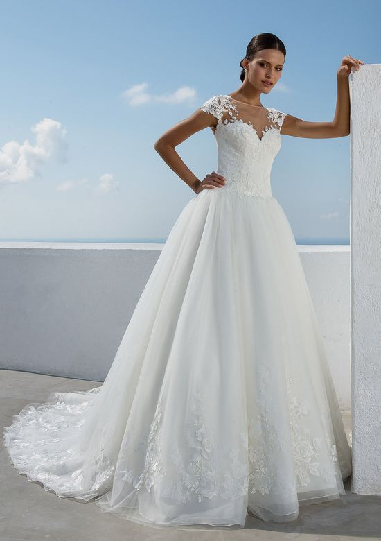 Justin Alexander Style 88015 Lace Illusion Neckline Dropped Waist Ball Gown