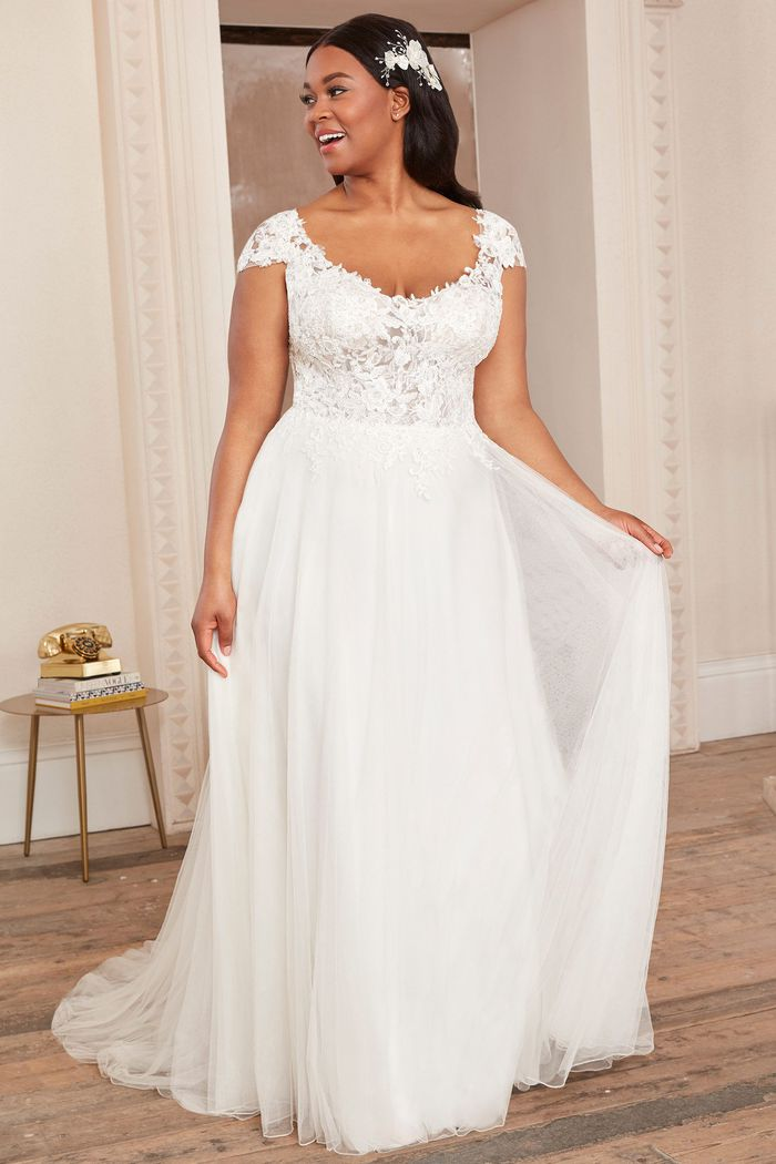 Adore by Justin Alexander Style11131PS Plus Size English Net A-Line Dress with Cap Sleeves