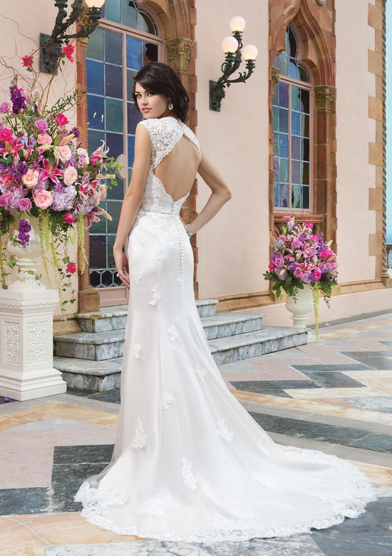 Sincerity Bridal Style 3821 Tulle; alencon lace fit and flare dress highlighted by a Queen Anne neckline