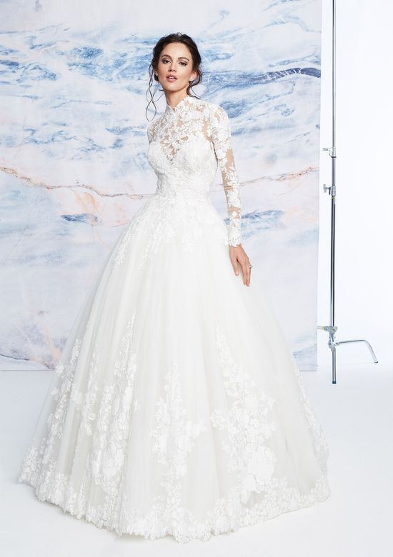 Justin Alexander Signature Style 99071 Long Sleeve Laser Cut Lace Ball Gown