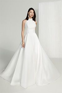 Justin Alexander Signature Style 99223 Cybill Mikado A-Line Gown with Halter Neckline and Pockets