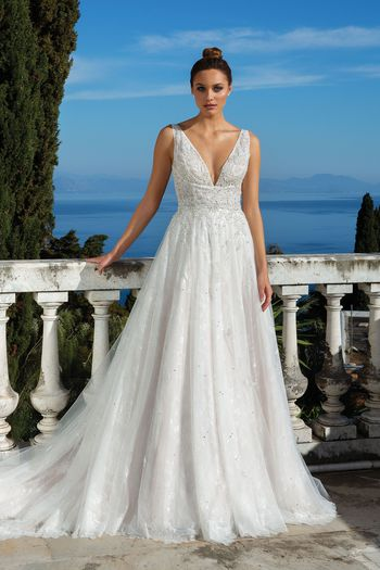 Justin Alexander Style 88112 V-Neck A-Line Gown with Beaded Bodice