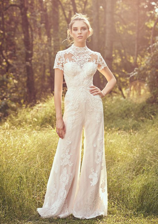 Lillian West Style 66058 Short Sleeve Lace and Tulle Jumpsuit