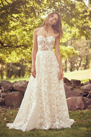 Lillian West style 66067 Sweetheart Gown with Cotton Lace Illusion Bodice