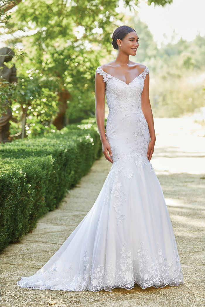 Sincerity Bridal Style 44198 Off The Shoulder Mermaid Gown with Beaded Embroidered Lace