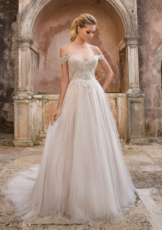 Justin Alexander style 88052 Floating Crystal Off the Shoulder Dress
