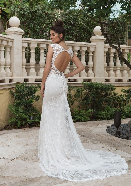Sincerity Bridal Style 44097 Allover Lace Fit and Flare with Cutout Side Detail